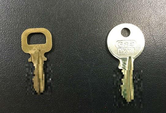 左:お客様の鍵  右:作成した合鍵